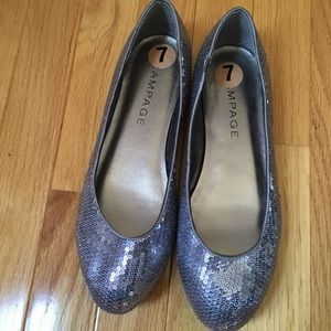 Rampage Silver Sequined Flats